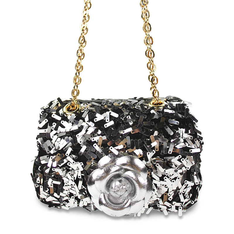Milk & Soda Ava Sequins Flower Bag Silver