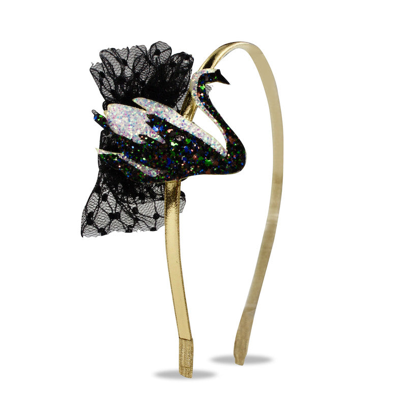 Milk & Soda Glitter Swan Headband-Black