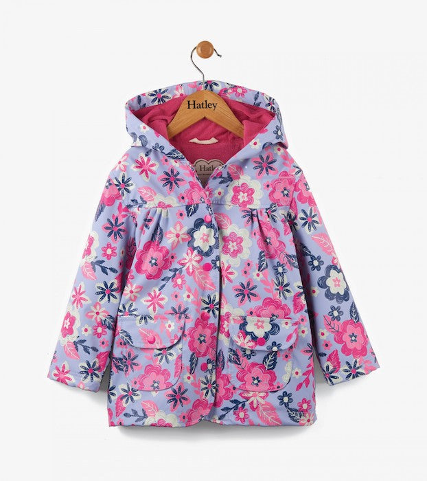 Hatley Wintery Blooms Girls Raincoat