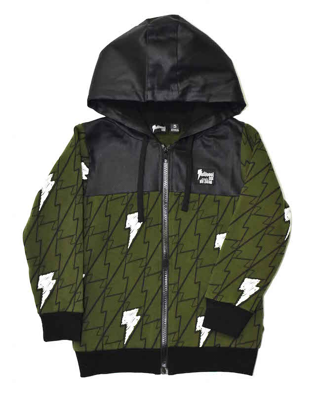 Radicool Kids Lights On Zip Hood In Olive