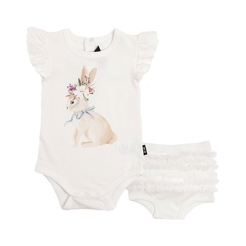 Rock Your Baby Spring Bunny Bodysuit & Ruffle Pant Set