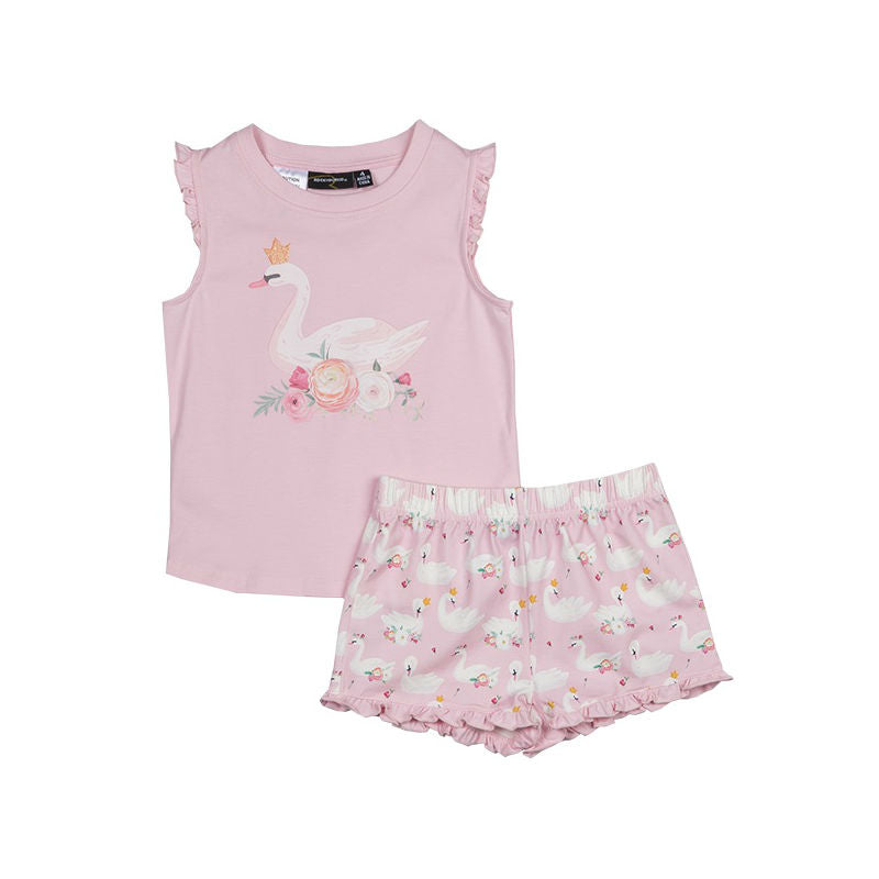 Rock Your Kid Swans Short PJ Set