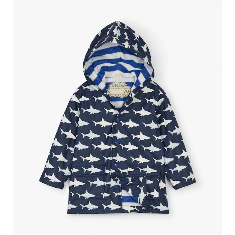 Hatley Colour Changing Shark Frenzy Raincoat