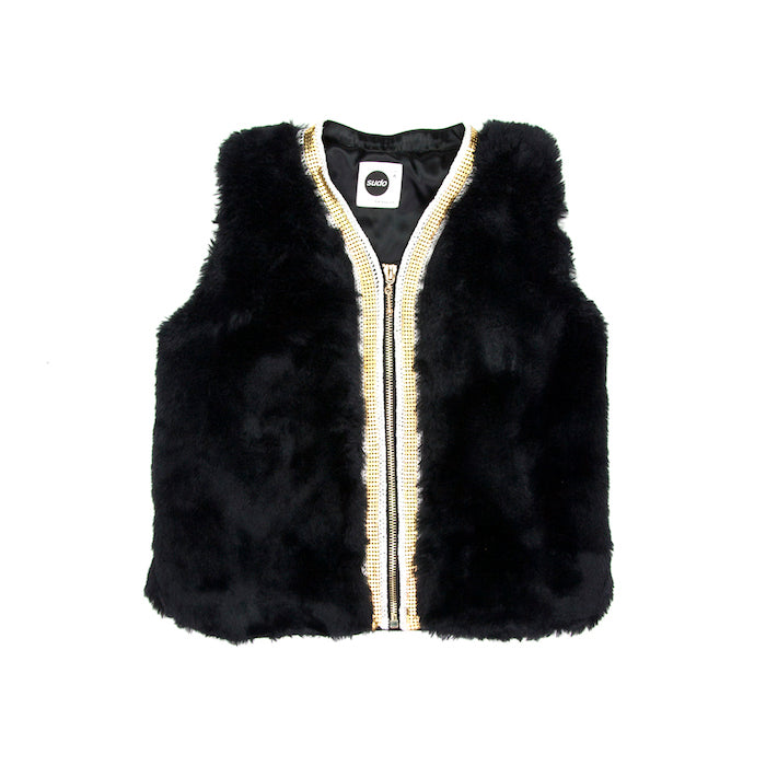 Sudo Miss Molly Faux Fur Vest-Atomic Black