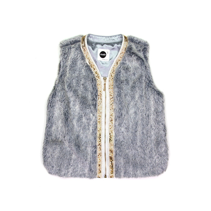 Sudo Miss Molly Faux Fur Vest-Silver Haze