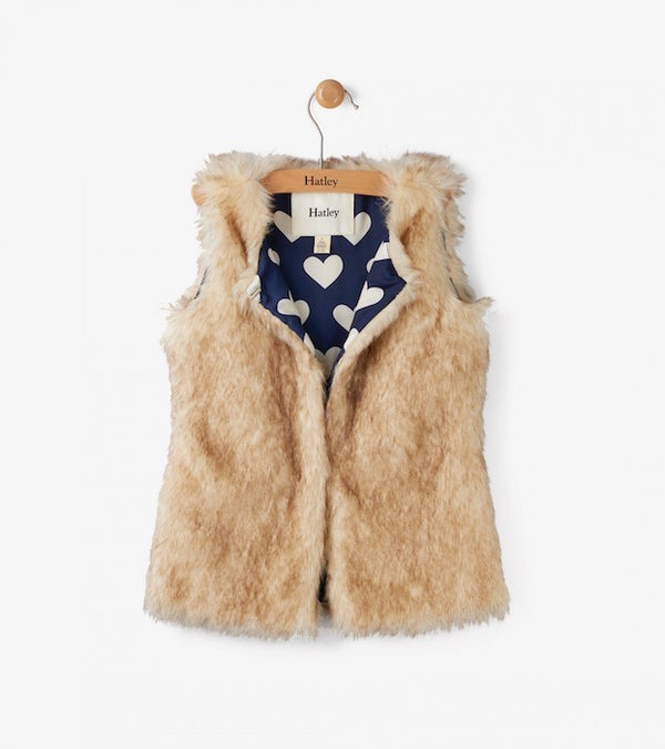 Hatley Honey Brown Faux Fur Vest