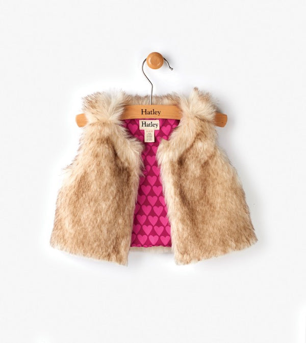 Hatley Pink Hearts Faux Fur Mini Vest