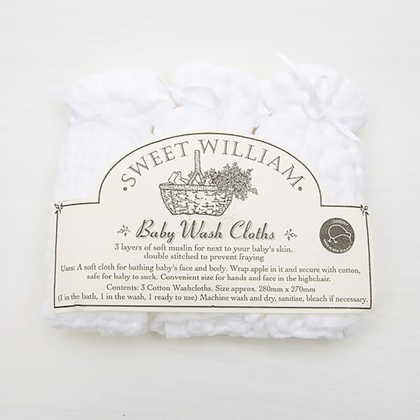 Sweet William Muslin Wash Cloths -3pack