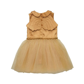 Rock Your Kid Gold Peter Pan Collar Wing Dress
