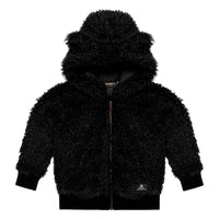 Rock Your Kid Black Sherpa Bear Hoodie