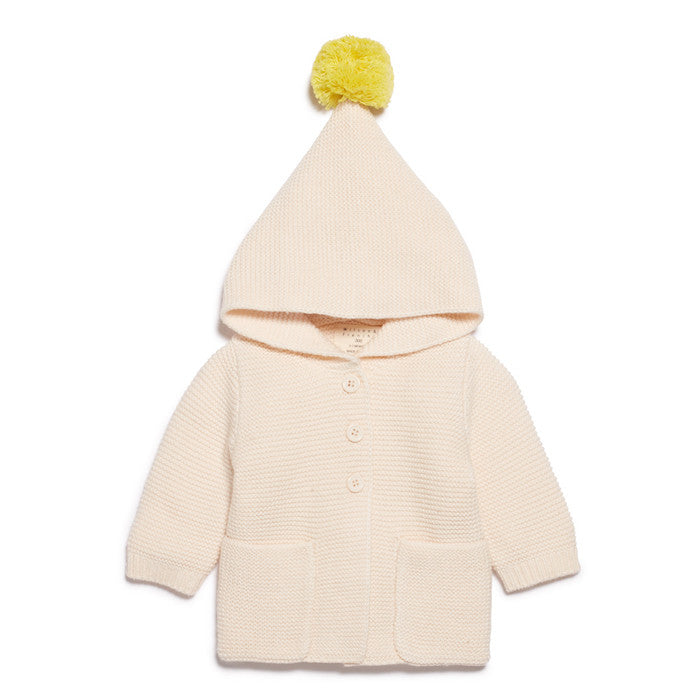 Wilson & Frenchy Knitted Jacket With Hood Oatmeal/Pineapple