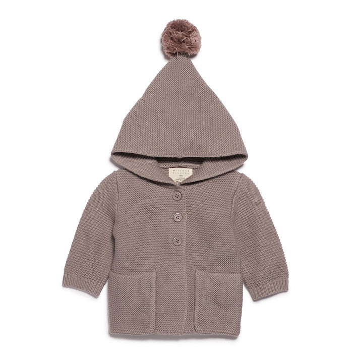 Wilson & Frenchy Knitted Jacket With Hood Smoke Grey