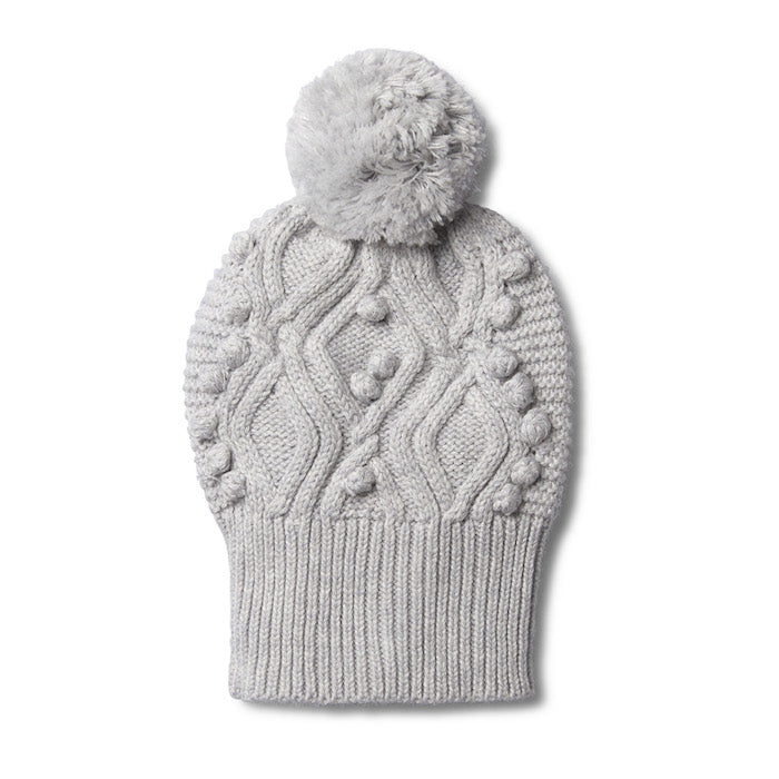 Wilson & Frenchy Grey Melange Cable Knitted Pom Pom Hat