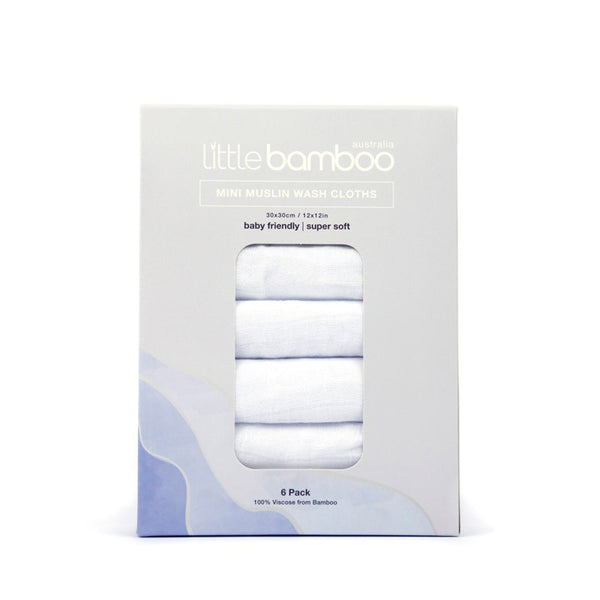 Little Bamboo Muslin Wash Cloth 6 pk