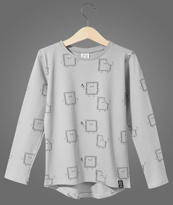 Kukukid Long Sleeve Grey Wacky Cookies