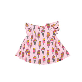 Kukukid Pom pom Dress Pale Pink Icecream