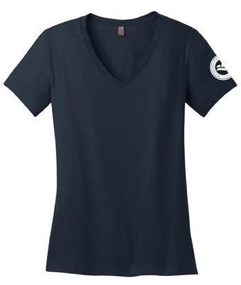 District Made™ Ladies' Perfect Weight V-Neck Tee (NAVY)