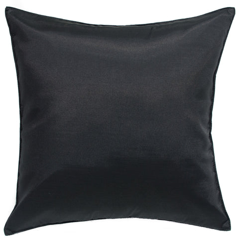 Avarada Solid Throw Pillow Cover Decorative Cushion Zippered 18X18 Inch (45X45 Cm) Super Black