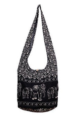 Avarada Cotton Hippie Hobo Sling Crossbody Bag Bohemian Bag Print Elephant