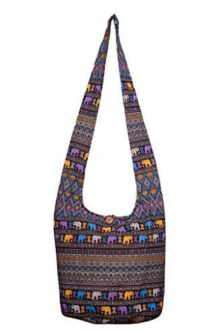 Avarada Cotton Hippie Hobo Sling Crossbody Bag Bohemian Bag Elephant Print