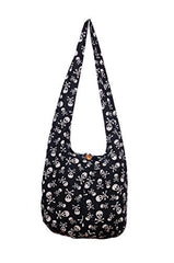 Avarada Cotton Hippie Hobo Sling Crossbody Bag Bohemian Bag Skull
