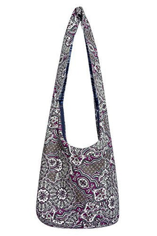 Avarada Hippie Hobo Cotton Crossbody Shoulder Bohemian Bag Medium Size Flower Pattren Gray