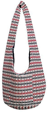 Avarada Hippie Hobo Cotton Crossbody Shoulder Bohemian Bag Medium Size Star Pattren Red White