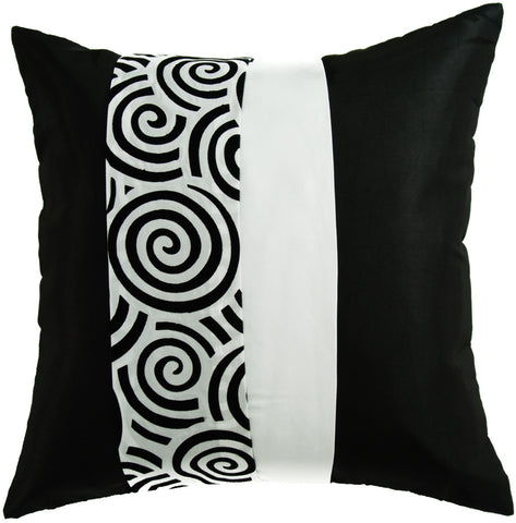 "Avarada Striped Spiral Throw Pillow Cover Decorative Cushion Zippered 20X20"" (50X50 Cm) Black White"