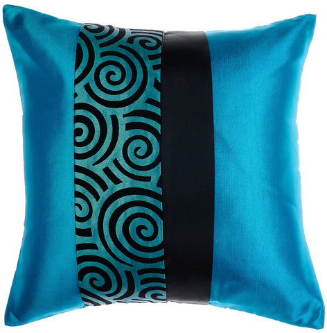Avarada Striped Spiral Throw Pillow Cover Decorative Cushion Zippered 20X20 Inch (50X50 Cm) Blue Teal