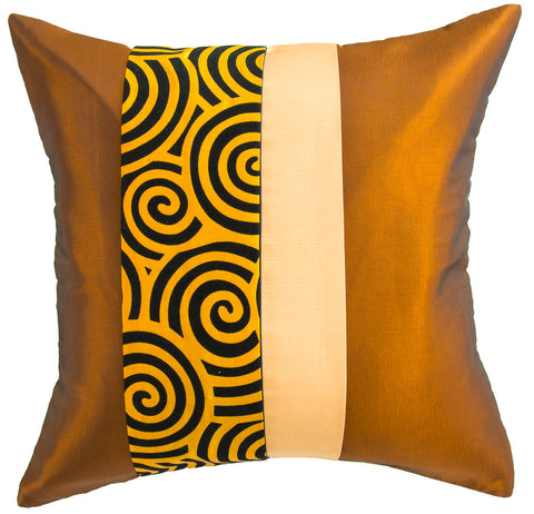 Avarada Striped Spiral Throw Pillow Cover Decorative Sofa Couch Cushion Cover Zippered 20X20 Inch (50X50 Cm) Gold Beige