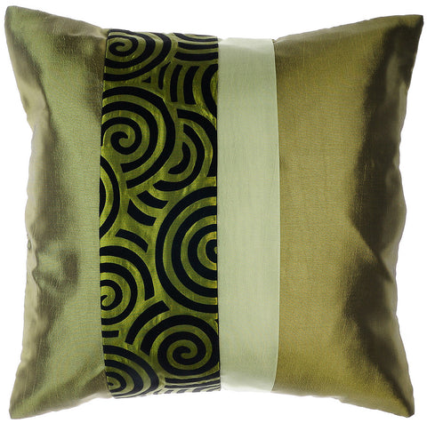 Avarada Striped Spiral Throw Pillow Cover Decorative Sofa Couch Cushion Cover Zippered 20X20 Inch (50X50 Cm) Green