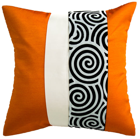 Avarada Striped Spiral Throw Pillow Cover Decorative Sofa Couch Cushion Cover Zippered 20X20 Inch (50X50 Cm) Orange White