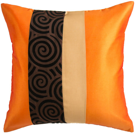 Avarada Striped Spiral Throw Pillow Cover Decorative Cushion Zippered 20X20 Inch (50X50 Cm) Orange