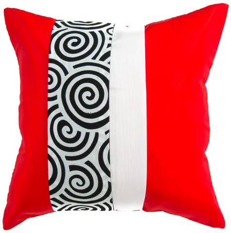 Avarada Striped Spiral Throw Pillow Cover Decorative Sofa Couch Cushion Cover Zippered 20X20 Inch (50X50 Cm) Red White