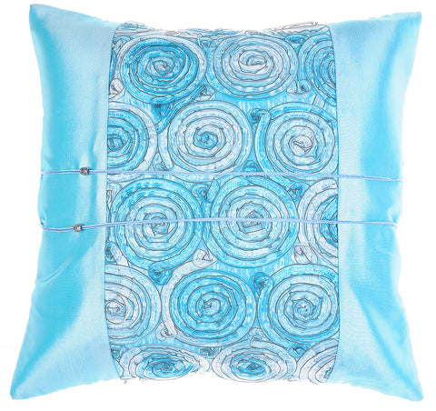 Avarada Striped Floral Bouquet Throw Pillow Cover Decorative Sofa Couch Cushion Cover Zippered 20X20 Inch (50X50 Cm) Blue