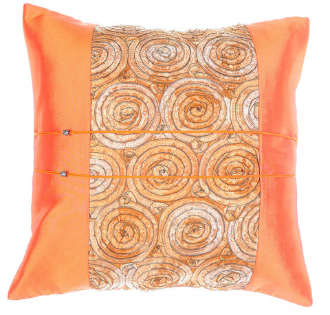 Avarada Striped Floral Bouquet Throw Pillow Cover Decorative Cushion Zippered 20X20 Inch (50X50 Cm) Orange