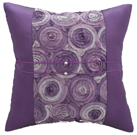 Avarada Striped Floral Bouquet Throw Pillow Cover Decorative Cushion Zippered 20X20 Inch (50X50 Cm) Purple