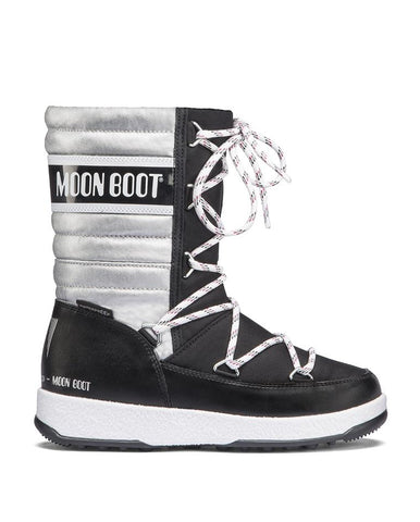 MOON BOOT WE QUILTED JR MET WP BLACK-SILVER