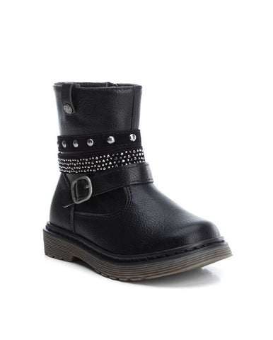 XTI BLACK PU KIDS ANKLE BOOTS