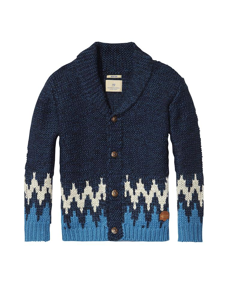 CHUNKY CARDIGAN WITH INTARSIA COMBO