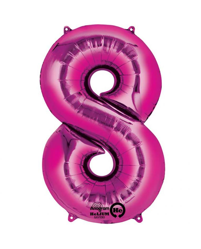 BALLOON NUMBER 8-PINK