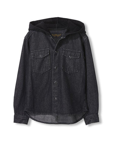 JARED GREY DENIM - UNISEX WOVEN LONG SLEEVE HOODED SHIRT
