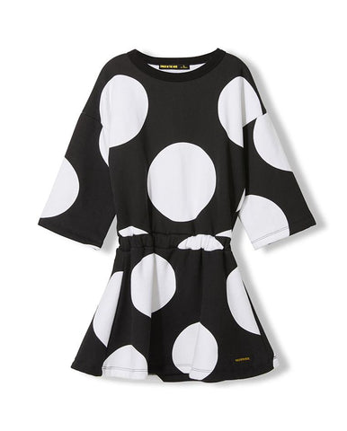 AWARD BLACK POLKA DOTS - GIRL KNITTED DRESS