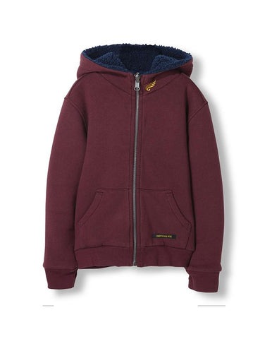 HOOPER BURGUNDY REVERSIBLE - UNISEX KNITTED ZIPPED HOODY