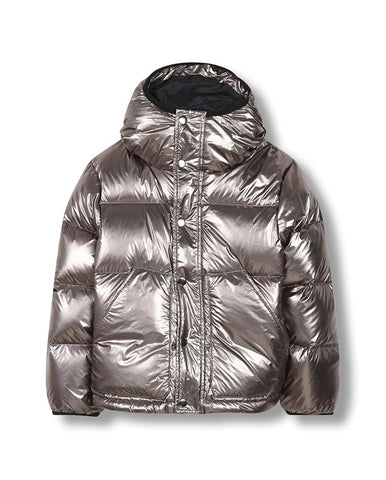 FINGER IN THE NOSE SNOWFLOW SILVER - UNISEX WOVEN DOWN JACKET
