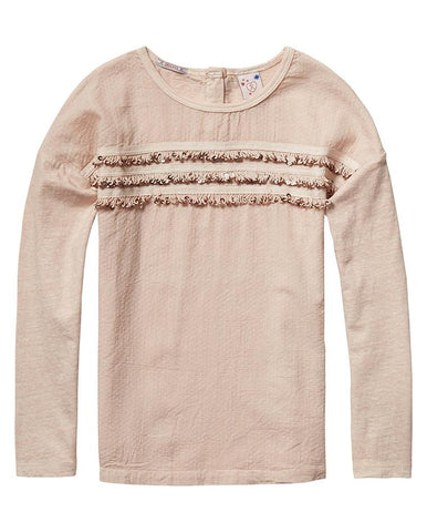SCOTCH R'BELLE GIRL'S TEE WITH WOVEN FRONT PANEL & SEQUINSFRINGES T-SHIRT