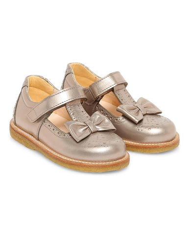 ANGULUS MARY JANES WITH BOW AND  VELCRO STRAP COPPER