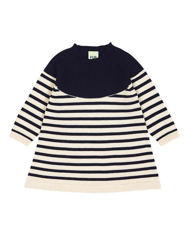 FUB BABY DRESS ECRU/NAVY