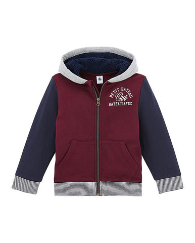 BOY'S ZIPPERED SWEATSHIRT IN COTTON FLEECE AND SHERPA