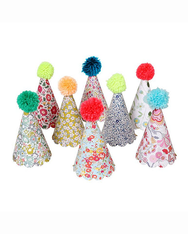 ASSORTED POM POM PARTY HATS